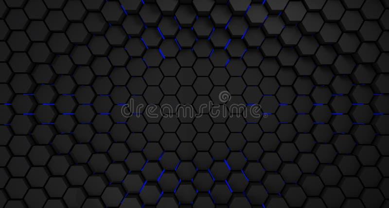 Framför abstrakt bakgrund för svarta och blåa metallsexhörningar, 3d royaltyfri illustrationer