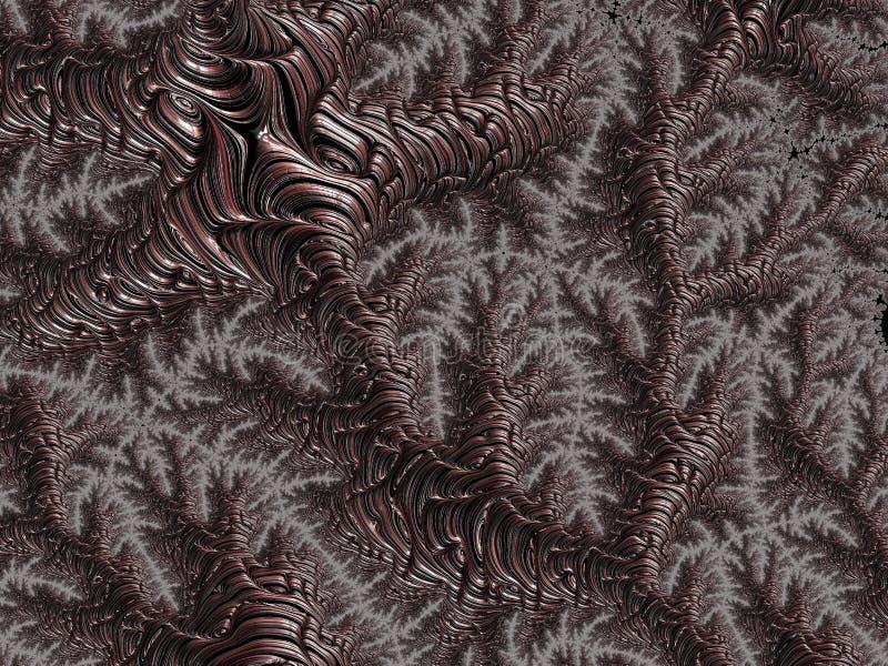 Framför abstrakt brun metall texturerade fractallinjer, 3d för affisch, design och underhållning Bakgrund för broschyren, website vektor illustrationer