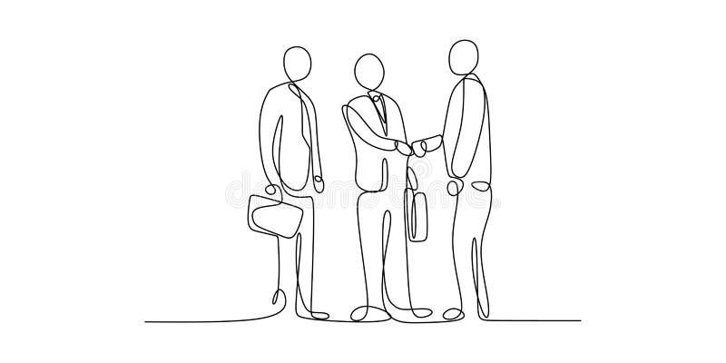 framför affärsidéen isolerade mötet 3d white Fortlöpande linje konstteckning av folkgemenskap med att skaka handvektorillustratio stock illustrationer