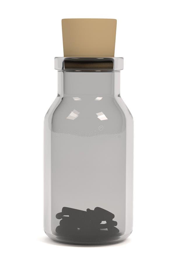 Framför av örter i flaska vektor illustrationer