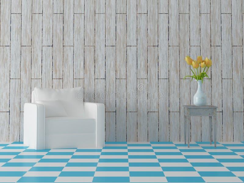 Framför av comosition med den vita soffan för blåa tegelplattor, gula tulpan i bunke och tappningädelträväggen vektor illustrationer