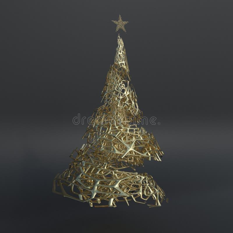 Framför av julgranen 3D royaltyfri illustrationer