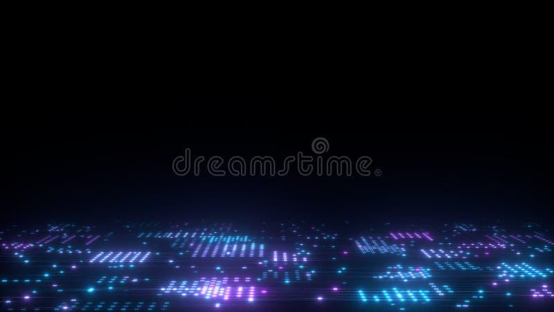 framför bakgrund för abstrakt konst 3d, cirklar och prickar på den svart-, retrowave- och synthwaveillustrationen stock illustrationer