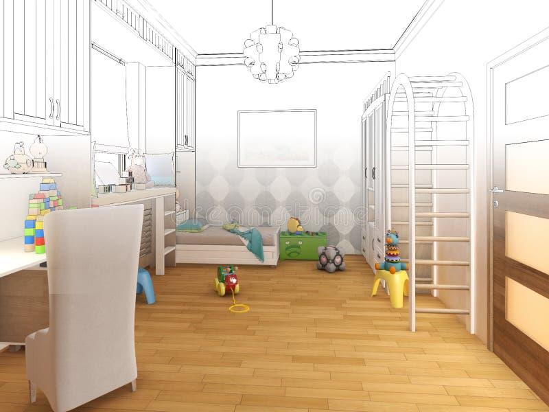Framför barnrum Skissar den svarta vita inre för diagrammet royaltyfri illustrationer