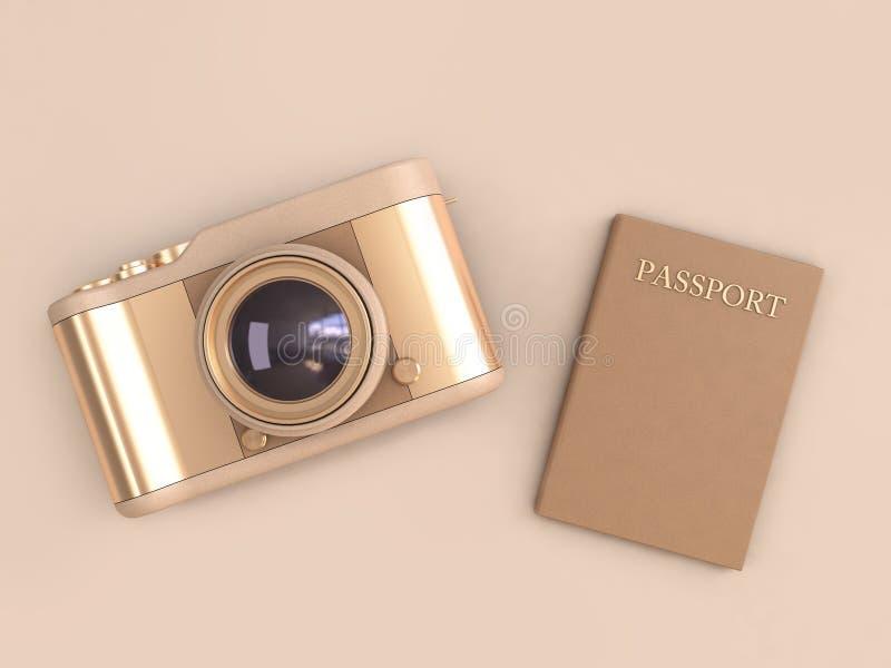 Framför den glansiga reflexionen för den guld- kameran och det bruna passet på minsta stil 3d för kräm- bakgrund loppbegrepp stock illustrationer