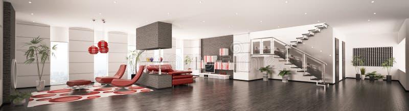 framför den inre moderna panoramat för lägenheten 3d stock illustrationer