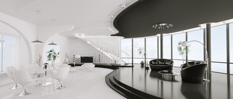 framför den inre moderna panoramat för lägenheten 3d royaltyfri illustrationer