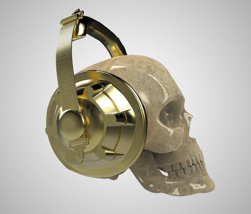 Framför den mänskliga skallen för den skinande stenen med guld- studiohörlurar på, främre sikt Mall för allhelgonaaftonpartiaffis stock illustrationer