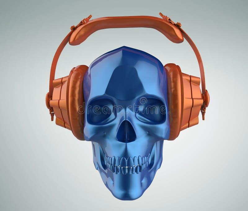 Framför den mänskliga skallen för skinande blå metallisk målarfärg med orange studiohörlurar på, sikt Mall för allhelgonaaftonpar stock illustrationer