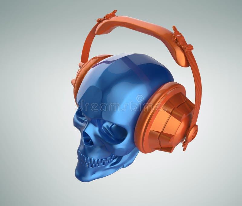 Framför den mänskliga skallen för skinande blå metallisk målarfärg med orange studiohörlurar på, sikt Mall för allhelgonaaftonpar royaltyfri illustrationer
