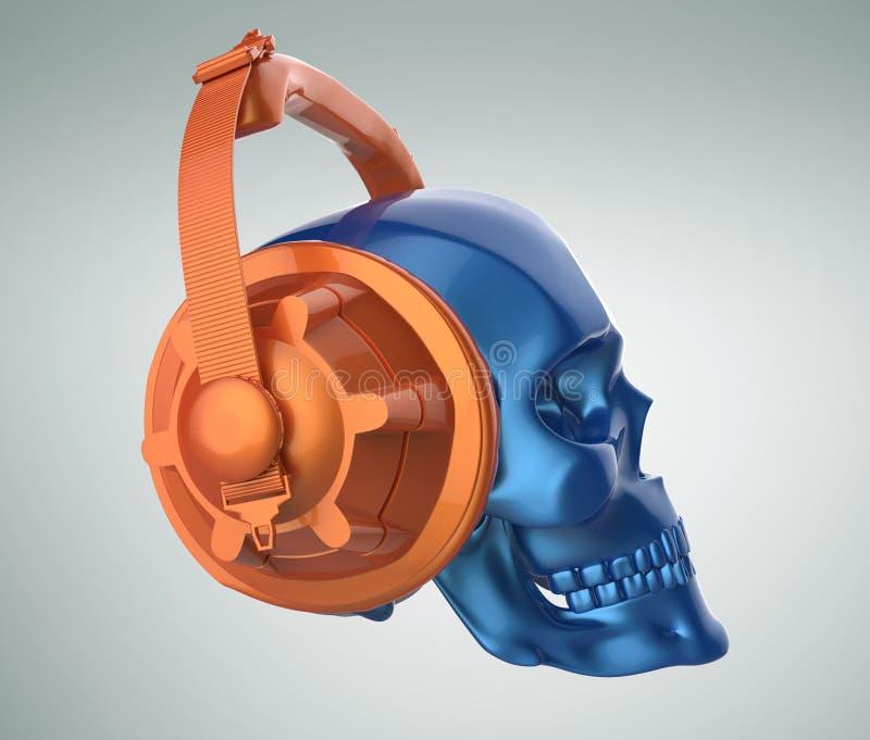 Framför den mänskliga skallen för skinande blå metallisk målarfärg med orange studiohörlurar på, sikt Mall för allhelgonaaftonpar vektor illustrationer