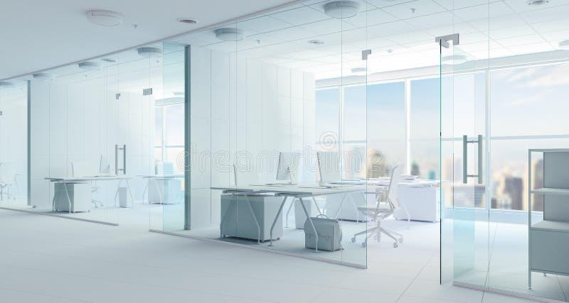 framför den moderna inre för kontoret 3d stock illustrationer