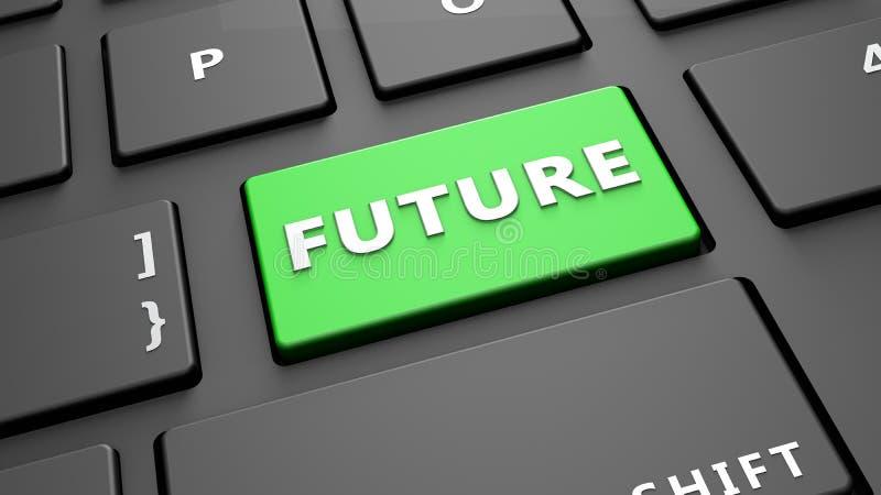 Framför den nyckel- tangentborddatoren för framtid royaltyfri illustrationer