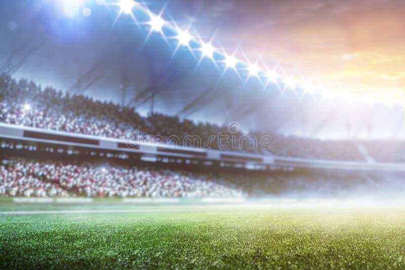 Framför den storslagna fotbollarenan för den tomma solnedgången i ljusen 3d royaltyfri fotografi