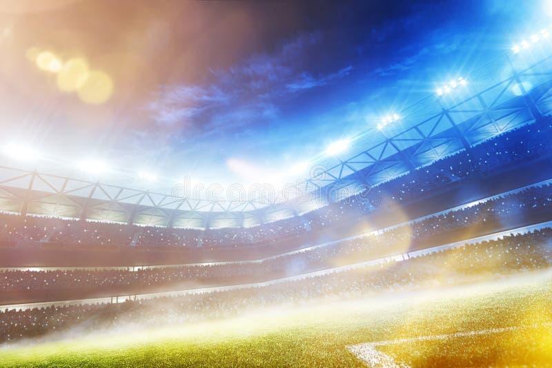 Framför den storslagna fotbollarenan för den tomma solnedgången i ljusen 3d arkivfoto