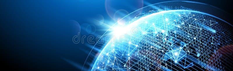 framför det digitala nätverket för cyberspacen 3d vektor royaltyfri illustrationer