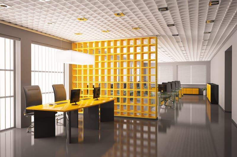 framför det inre moderna kontoret 3d stock illustrationer