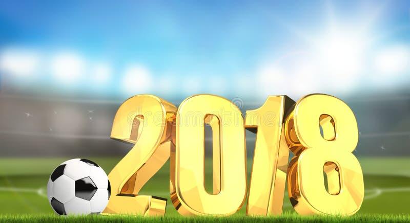 framför fotbollstadion 2018 guld- 3d stock illustrationer