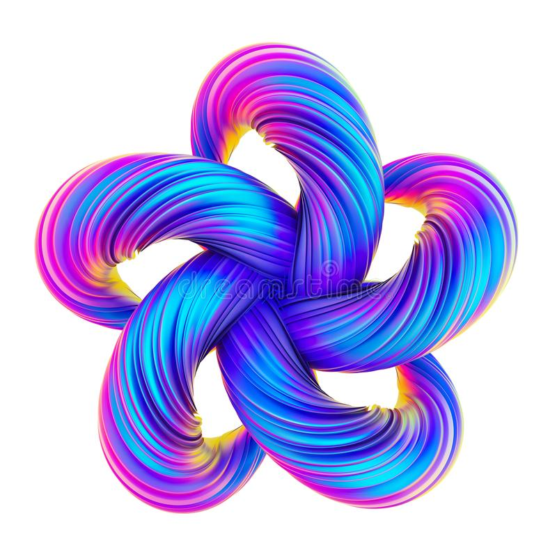 Framför Holographic abstrakt begrepp vriden form i den fluid designen 3D stock illustrationer
