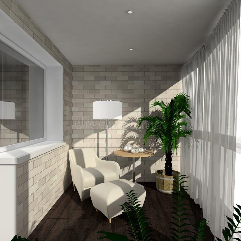 framför inre moderna 3d verandahen royaltyfri illustrationer