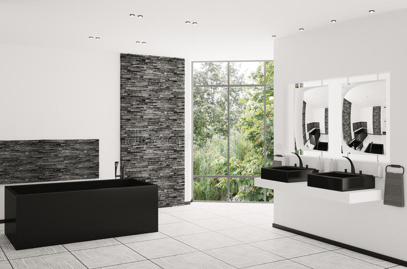 framför inre moderna för badrum 3d stock illustrationer