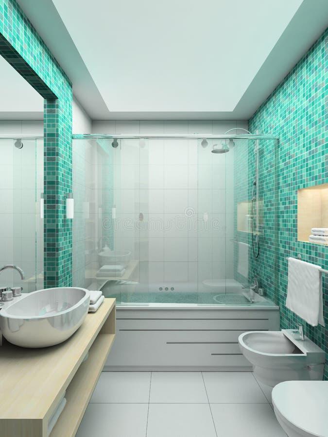framför inre moderna för badrum 3d royaltyfri illustrationer