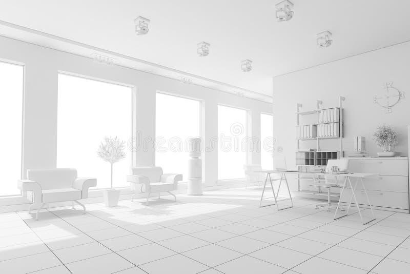 framför inre moderna för design 3d stock illustrationer
