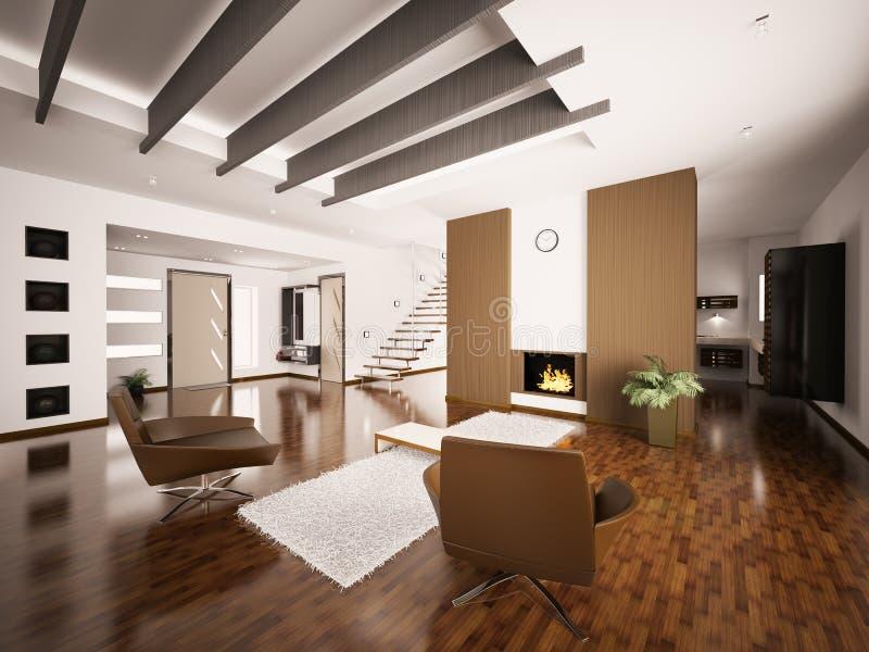 framför inre moderna för lägenhet 3d stock illustrationer