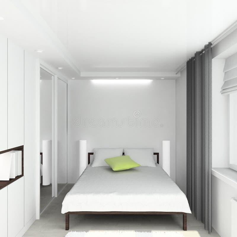 framför inre moderna för sovrum 3d arkivfoto