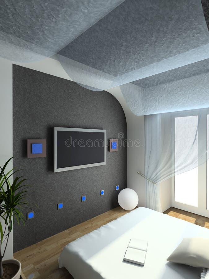 framför inre moderna för sovrum 3d royaltyfri illustrationer