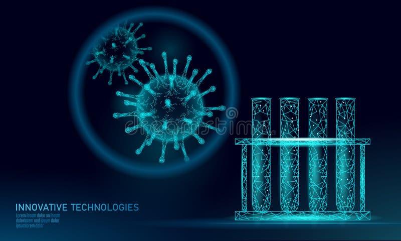 Framför låga poly för provrörvirus 3D Influensa för influensa för virus för hepatit för kronisk sjukdom för laboratoriumanalysinf vektor illustrationer
