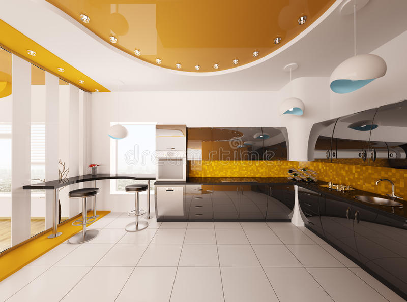 framför modernt inre kök för designen 3d stock illustrationer