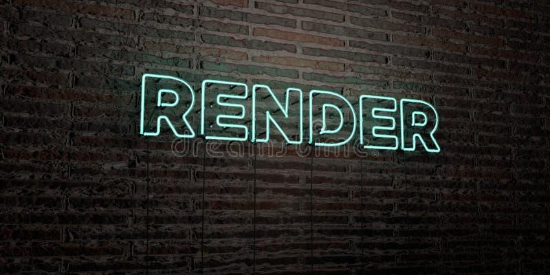 FRAMFÖR - realistiskt neontecken på bakgrund för tegelstenvägg - den 3D framförda fria materielbilden för royalty stock illustrationer