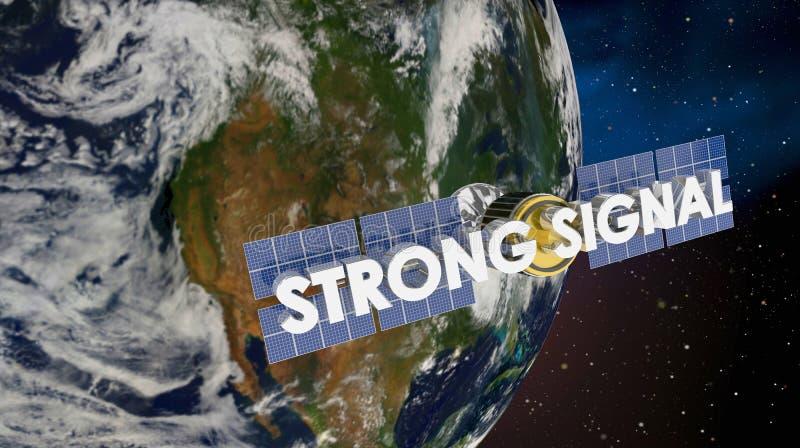 Framför satellit- jordtäckning 3d för den starka signalen illustrationen royaltyfri foto