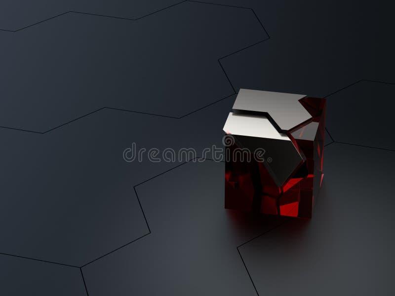 Framför sexhörnig teknisk för abstrakta höga detaljer eller science fictionhonungskakabakgrund med kärvhetexponeringsglas- och me royaltyfri illustrationer