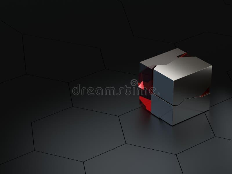 Framför sexhörnig teknisk för abstrakta höga detaljer eller science fictionhonungskakabakgrund med kärvhetexponeringsglas- och me stock illustrationer