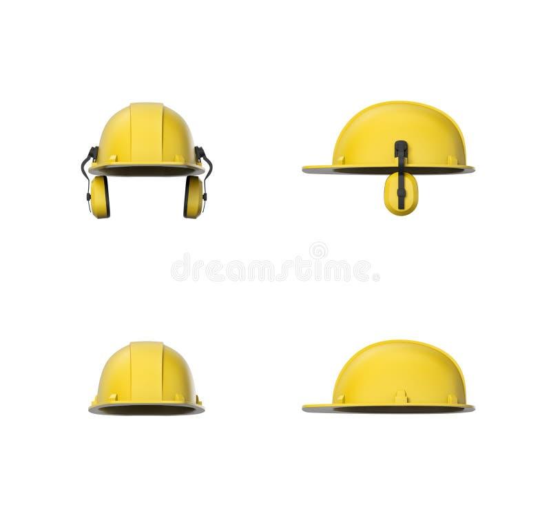 Framföra uppsättningen av den gula hård hatt- eller konstruktionshjälmen med örabeskyddanden som isoleras på en vit bakgrund arkivfoto