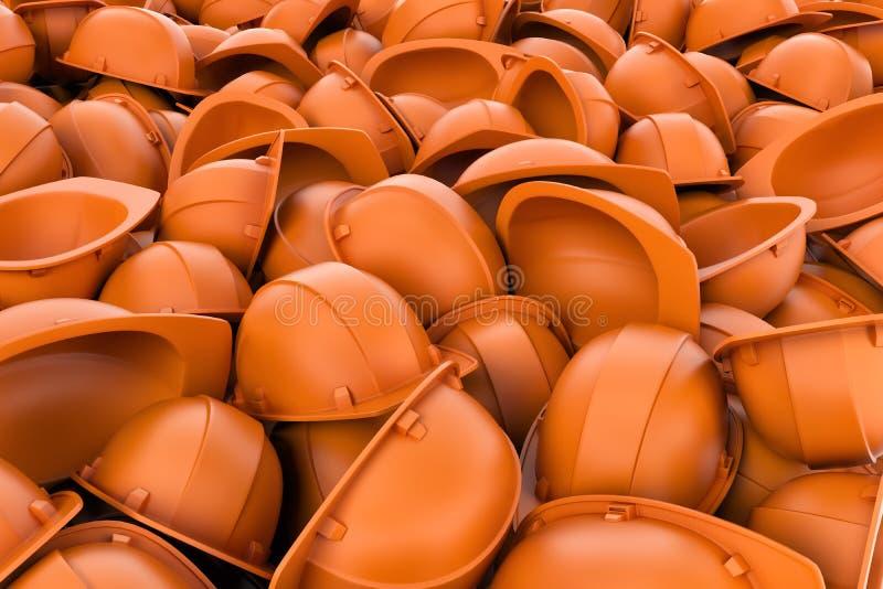 Framförande av den ändlösa högen av orange plast- arbetshjälm` s royaltyfri illustrationer