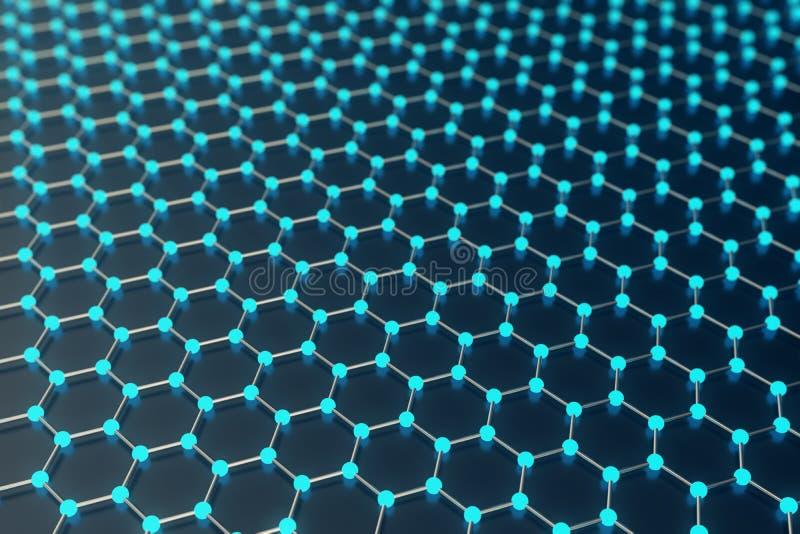 Framförande av sexhörnig geometrisk formnärbild för abstrakt nanoteknik, atom- struktur för begreppsgraphene som är molekylär vektor illustrationer