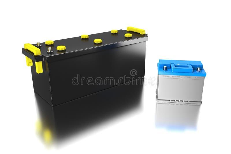 framförande 3d batteri 24v för lastbil Ackumulator för kommersiellt medel stock illustrationer