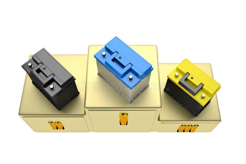 framförande 3d Bilbatteri på vit bakgrund stock illustrationer