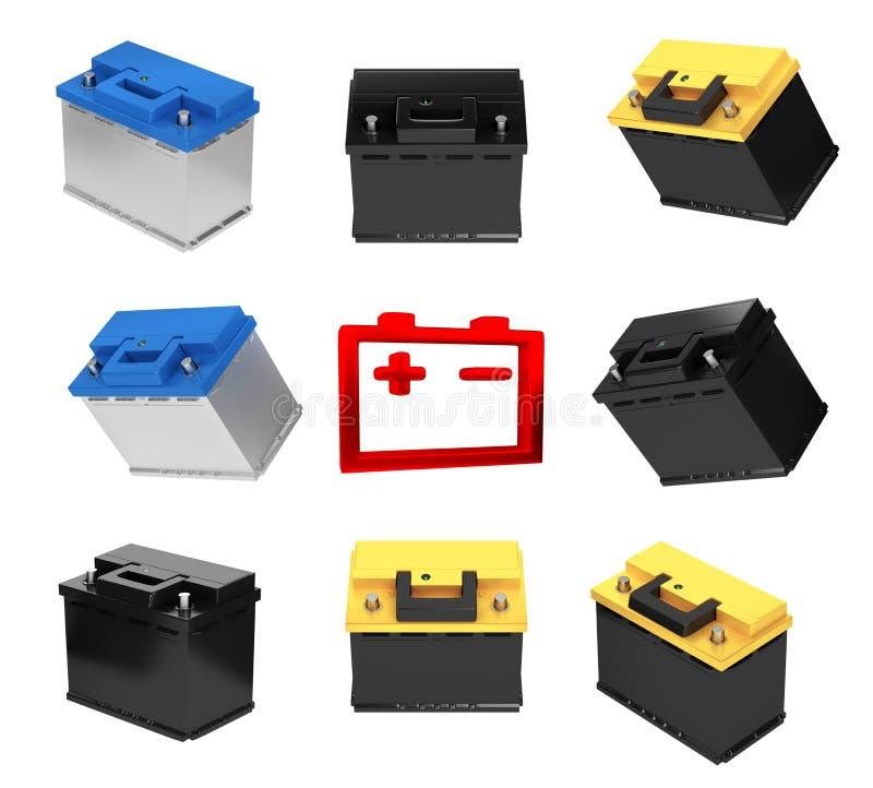 framförande 3d Bilbatteri på vit bakgrund vektor illustrationer