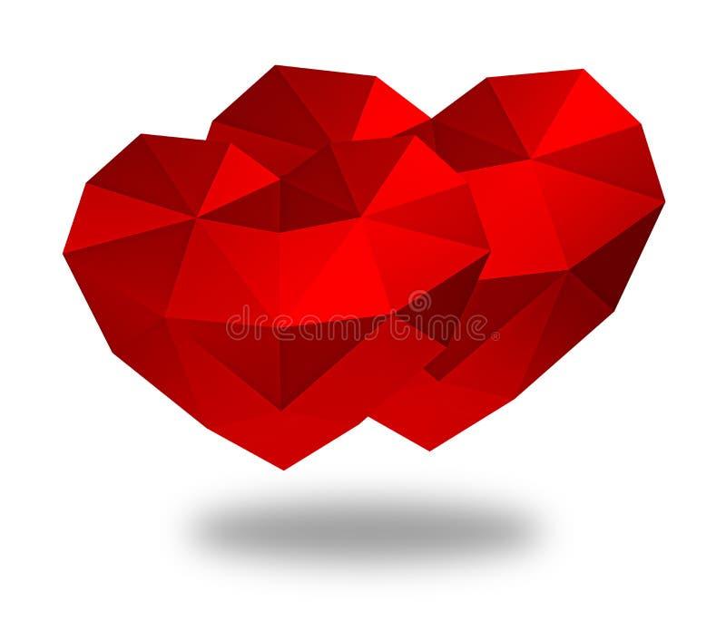 framförande 3d Isolerad röd polygonal hjärta stock illustrationer