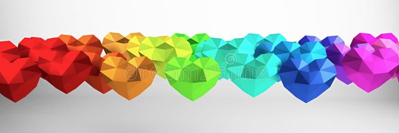 framförande 3d Många mångfärgade polygonal hjärtor, valentindag stock illustrationer