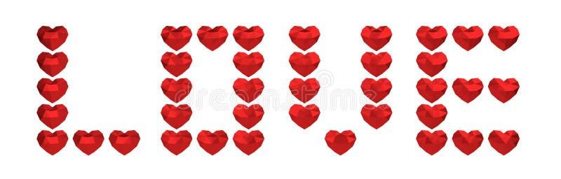 framförande 3d Många polygonal hjärtor, valentindag, förälskelse royaltyfri illustrationer