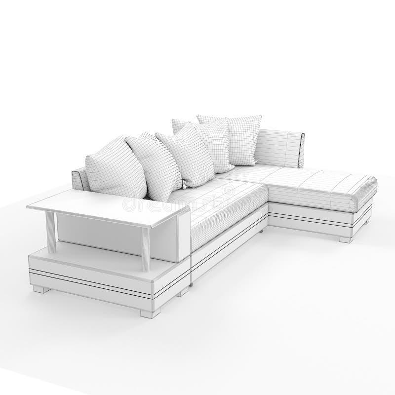 framförande 3d Modern soffa av enkel form royaltyfri foto