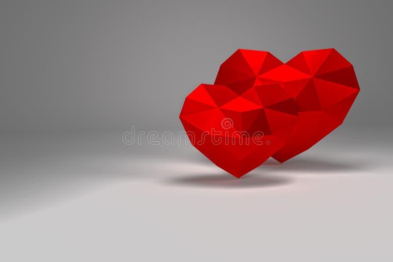 framförande 3d Röd polygonal hjärtavalentindag stock illustrationer