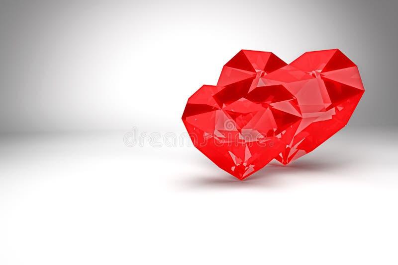 framförande 3d Röda polygonal diamanthjärtor, valentindag royaltyfri illustrationer