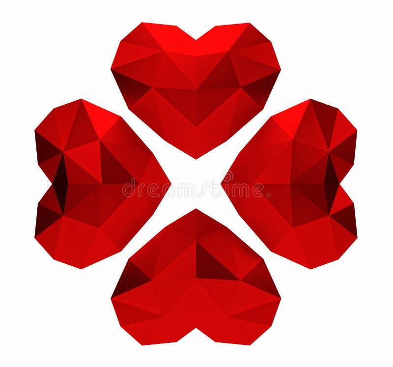 framförande 3d Röda polygonal hjärtor växt av släktet Trifolium, valentindag royaltyfri illustrationer