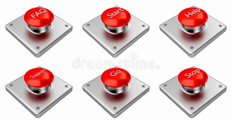 framförande 3d Röda rengöringsdukknappar med starten, stoppet, hjälp, service, faq, går stock illustrationer